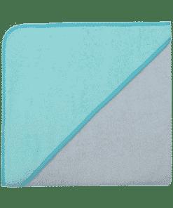 Kapuzenbadetuch, 100x100cm, chrom/blaugrün